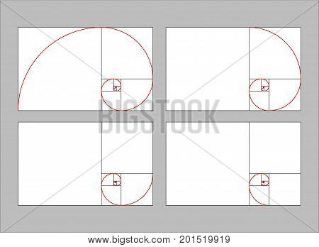 golden ratio section  vector illustration Fibonacci  rectangle