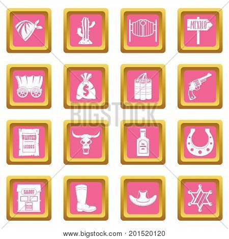 Wild west set design logo. Simple illustration of 16 wild west logo vector icons set in pink color isolated vector illustration for web and any design