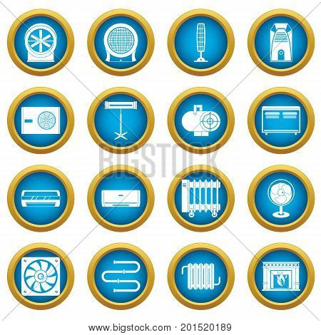 Heating cooling air icons blue circle set isolated on white for digital marketing