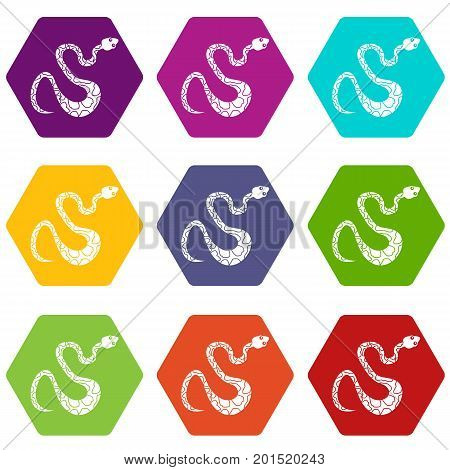 Black spotted snake icon set many color hexahedron isolated on white vector illustration
