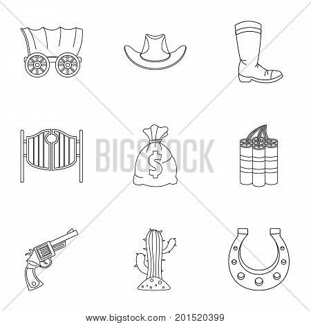 Sheriff element icon set. Outline set of 9 sheriff element vector icons for web isolated on white background
