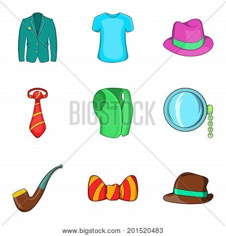 Men accessories icons set. Cartoon set of 9 men accessories vector icons for web isolated on white background