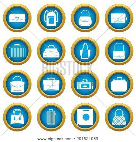 Bag baggage suitcase icons blue circle set isolated on white for digital marketing