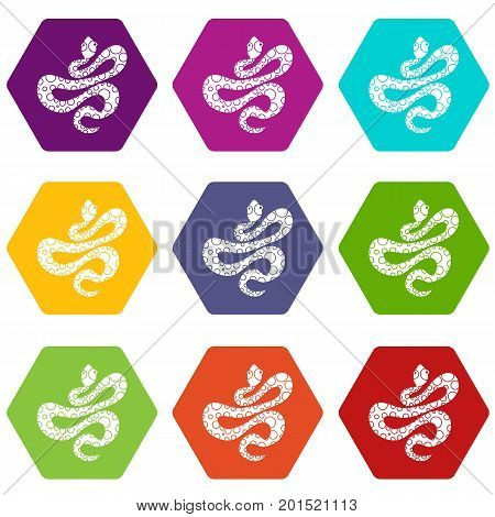 Black dotted snake icon set many color hexahedron isolated on white vector illustration