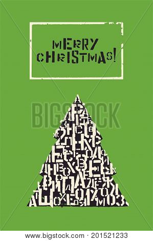 Merry Christmas! Typographic Christmas greeting card design with stencil font. Retro vector illustration.