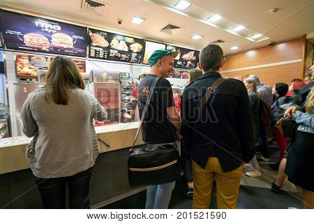 SAINT PETERSBURG, RUSSIA - CIRCA AUGUST, 2017: inside McDonald's restaurant. McDonald's is an American hamburger and fast food restaurant chain