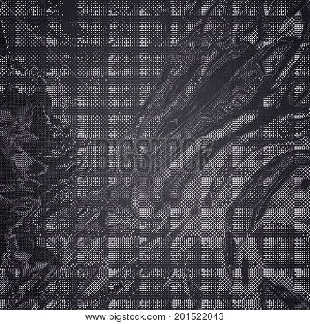 Monochrome texture of glitch manipulations. Modern background with dead pixel and bug glitch and error signal. Optical distortion overlapping geometric illusion of shapes. It can be used for web design printed products and visualization of music.