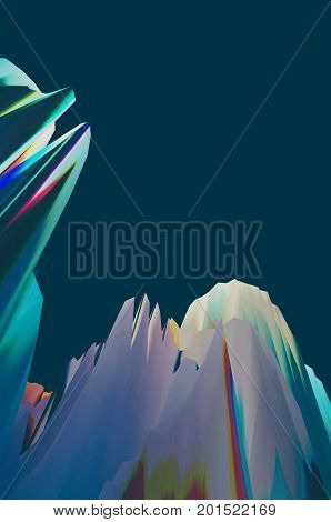 Background of glitch manipulations with 3D effect. Abstract surreal landscape unexpected habitat in blue shades. It can be used for web design printed products and visualization of music.