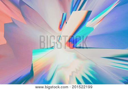 Background of glitch manipulations with 3D effect. Abstract flow of crystals in pastel shades. It can be used for web design printed products and visualization of music