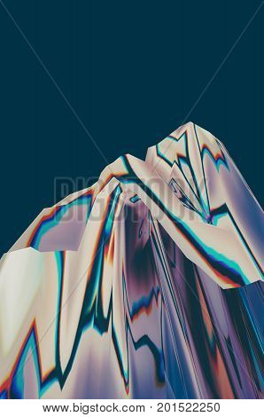Background of glitch manipulations with 3D effect. Abstract white surreal landscape unexpected habitat on dark green background. It can be used for web design printed products and visualization of music.
