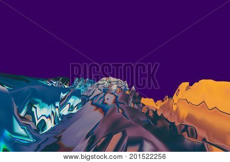 Background of glitch manipulations with 3D effect. Abstract surreal landscape unexpected habitat on purple background. It can be used for web design printed products and visualization of music.