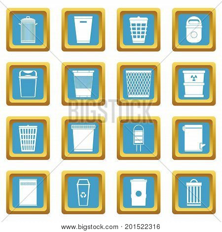 Trash can icons set in azur color isolated vector illustration for web and any design