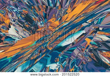 Background of glitch manipulations with 3D effect. Abstract colorful flow of crystals in pink shades. It can be used for web design printed products and visualization of music