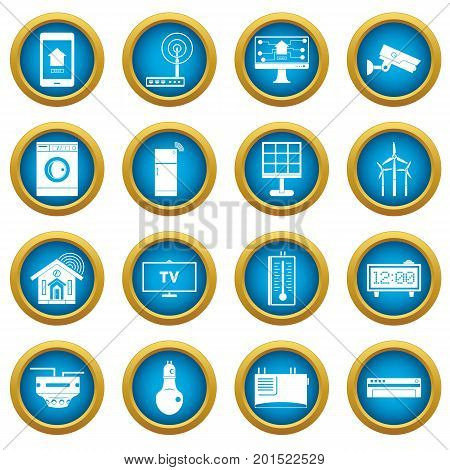 Smart home house icons blue circle set isolated on white for digital marketing