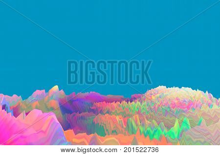 Background of glitch manipulations with 3D effect. Abstract colorful surreal landscape unexpected habitat on turquoise background. It can be used for web design printed products and visualization of music.