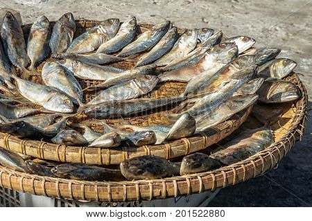 Dry salted fish traditional Malaysia view in the market.The hot weather is perfect for drying salted fish and it also results in better tasting fish.