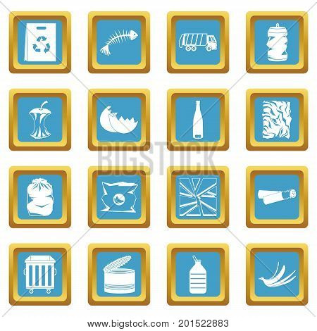 Waste and garbage for recycling icons set in azur color isolated vector illustration for web and any design