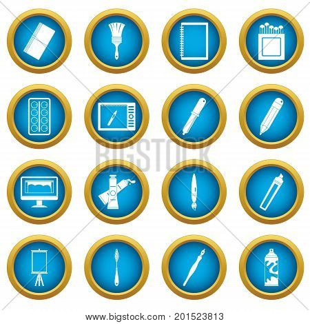 Design and drawing tools set. Simple illustration of 16 design and drawing tools vector icons blue circle set isolated on white for digital marketing