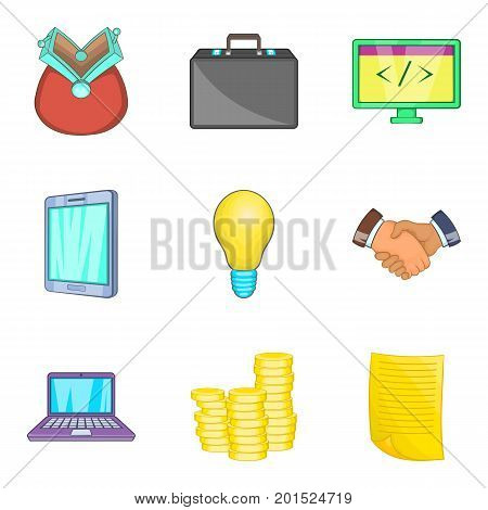 Tab icons set. Cartoon set of 9 tab vector icons for web isolated on white background