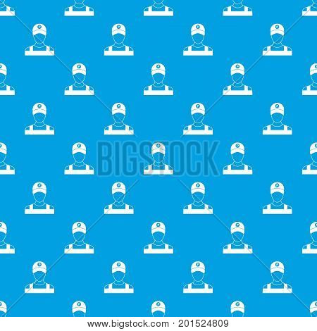Parking attendant pattern repeat seamless in blue color for any design. Vector geometric illustration