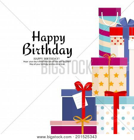 Pile of gift boxes for your birthday or christmas. Lots of presents in flat style. Vector illustration.