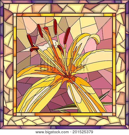 Vector mosaic of brightly yellow lilies with buds on pink in square stained-glass window frame.
