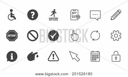 Attention caution icons. Question mark and information signs. Injury and disabled person symbols. Chat, Report and Calendar line signs. Service, Pencil and Locker icons. Click, Rotation and Cursor