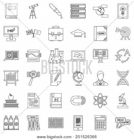 English icons set. Outline style of 36 english vector icons for web isolated on white background