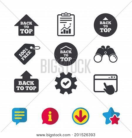 Back to top icons. Scroll up with arrow sign symbols. Browser window, Report and Service signs. Binoculars, Information and Download icons. Stars and Chat. Vector