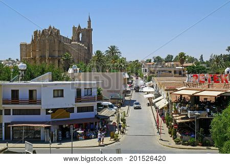 FAMAGUSTA (Gazimagusa), NORTHERN CYPRUS - JULY 24, 2017: View on the Famagusta Port from The Old town wall of Famagusta (Gazimagusa)