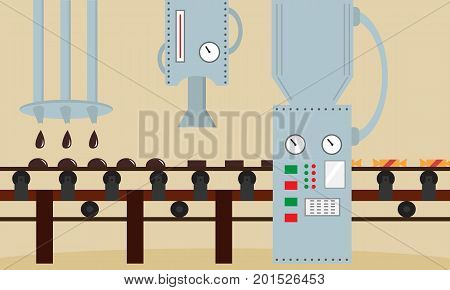 Candy factory. Machine for the production of chocolates candy. Flat style, vector illustration.