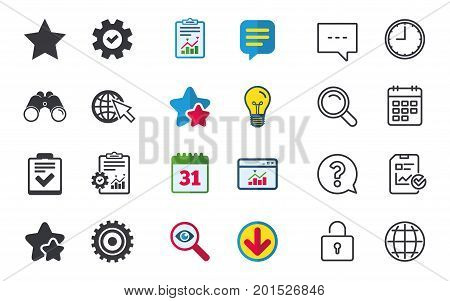 Star favorite and globe with mouse cursor icons. Checklist and cogwheel gear sign symbols. Chat, Report and Calendar signs. Stars, Statistics and Download icons. Question, Clock and Globe. Vector