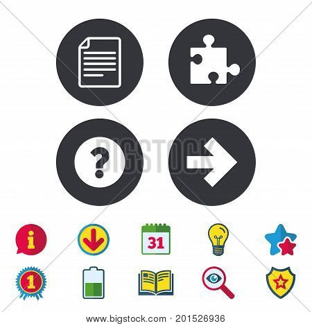 Question mark and puzzle piece icons. Document file and next arrow sign symbols. Calendar, Information and Download signs. Stars, Award and Book icons. Light bulb, Shield and Search. Vector