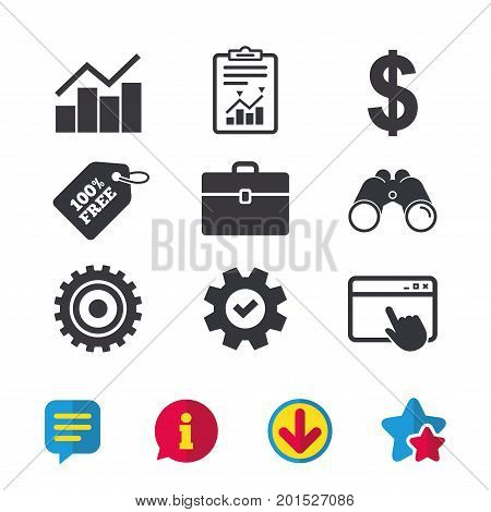 Business icons. Graph chart and case signs. Dollar currency and gear cogwheel symbols. Browser window, Report and Service signs. Binoculars, Information and Download icons. Stars and Chat. Vector