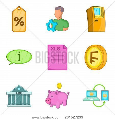 Cash accounting icons set. Cartoon set of 9 cash accounting vector icons for web isolated on white background