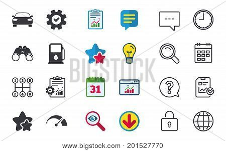 Transport icons. Car tachometer and manual transmission symbols. Petrol or Gas station sign. Chat, Report and Calendar signs. Stars, Statistics and Download icons. Question, Clock and Globe. Vector