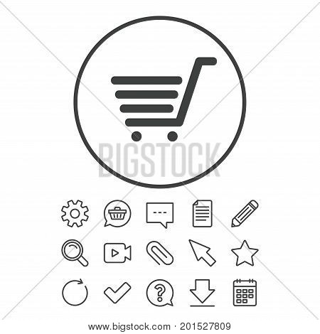 Shopping Cart sign icon. Online buying button. Document, Chat and Paper clip line signs. Question, Pencil and Calendar line icons. Star, Download and Shopping cart. Vector