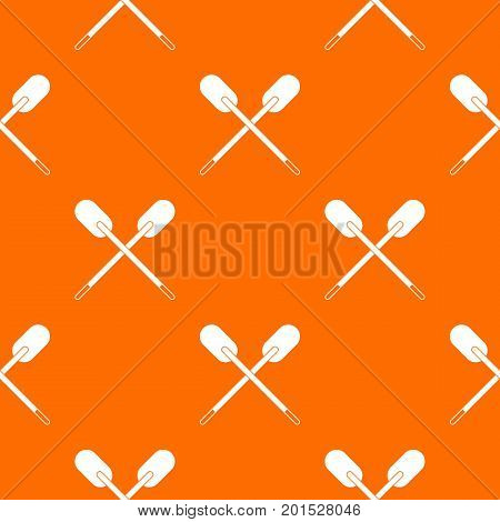 Two wooden crossed oars pattern repeat seamless in orange color for any design. Vector geometric illustration