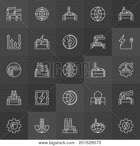 Geothermal power linear icons. Vector renewable energy, power plants and other industrial outline symbols on dark background