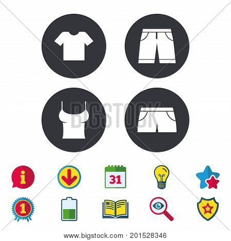 Clothes icons. T-shirt and bermuda shorts signs. Swimming trunks symbol. Calendar, Information and Download signs. Stars, Award and Book icons. Light bulb, Shield and Search. Vector
