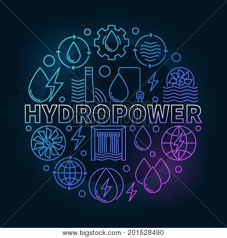 Hydropower round colorful illustration - vector water power creative symbol in thin line style on dark background
