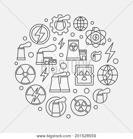 Nuclear power outline illustration. Vector nuclear energy concept symbol made with thin line icons
