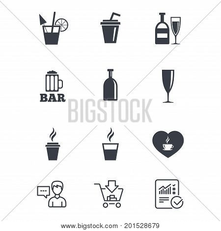 Beer, coffee and tea icons. Beer, wine and cocktail signs. Soft and alcohol drinks symbols. Customer service, Shopping cart and Report line signs. Online shopping and Statistics. Vector