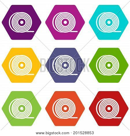 Abs or pla filament coil icon set many color hexahedron isolated on white vector illustration