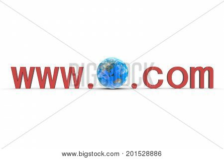 www com in the form of the earth on white background 3D illustration