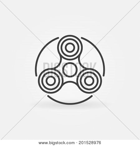 Hand fidget spinner icon - vector stress reducer toy concept symbol or design element in thin line style