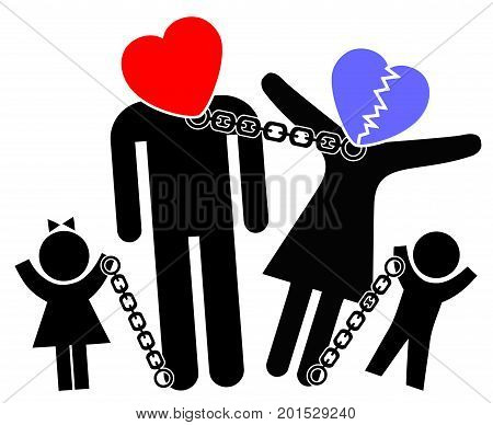 Dysfunctional Family Patterns. Concept sign of parents on the verge of divorce or separation affecting children
