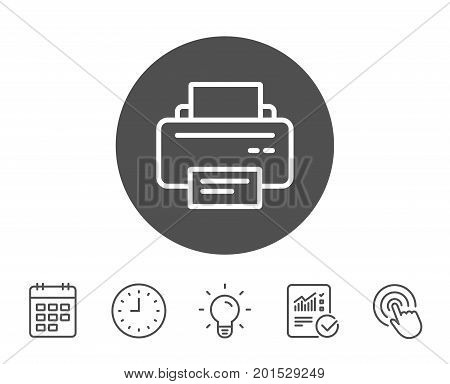 Printer icon. Printout Electronic Device sign. Office equipment symbol. Report, Clock and Calendar line signs. Light bulb and Click icons. Editable stroke. Vector