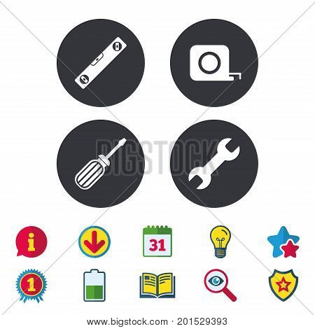 Screwdriver and wrench key tool icons. Bubble level and tape measure roulette sign symbols. Calendar, Information and Download signs. Stars, Award and Book icons. Light bulb, Shield and Search. Vector