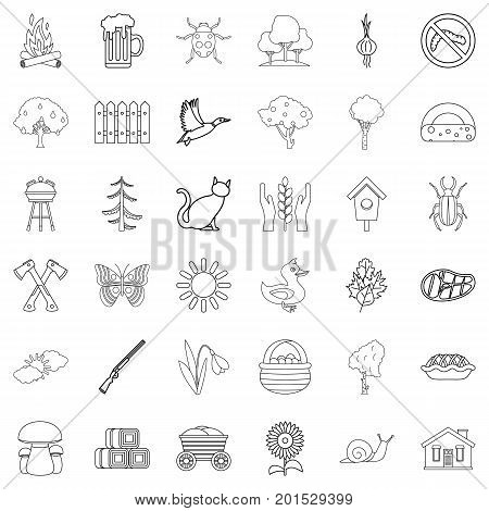 Region icons set. Outline style of 36 region vector icons for web isolated on white background